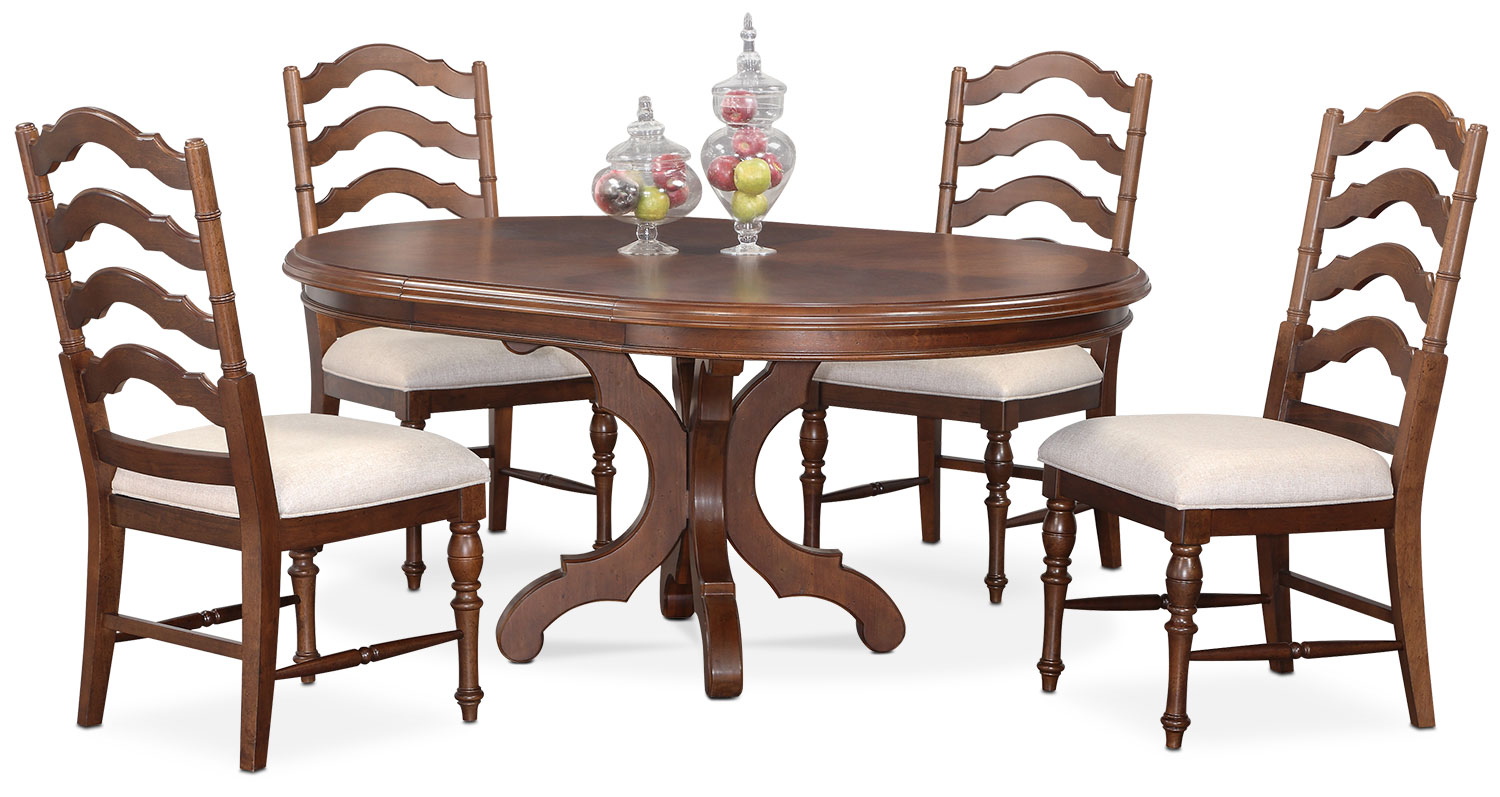 Dining Room Furniture   Charleston Round Dining Table And 4 Side Chairs    Tobacco
