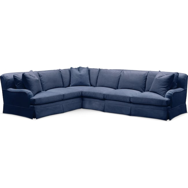 Living Room Furniture - Campbell 2-Piece Sectional with Right-Facing Sofa - Comfort in Abington TW Indigo