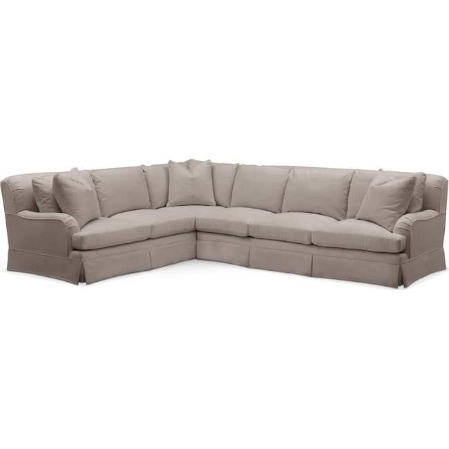 Living Room Furniture - Campbell 2 Pc. Sectional with Right Arm Facing Sofa- Cumulus in Abington TW Fog