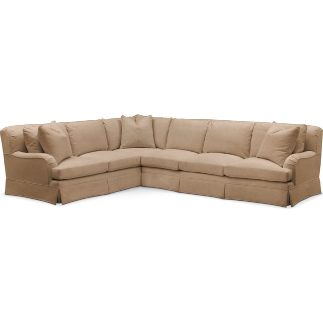 Living Room Furniture - Campbell 2 Pc. Sectional with Right Arm Facing Sofa- Comfort in Hugo Camel