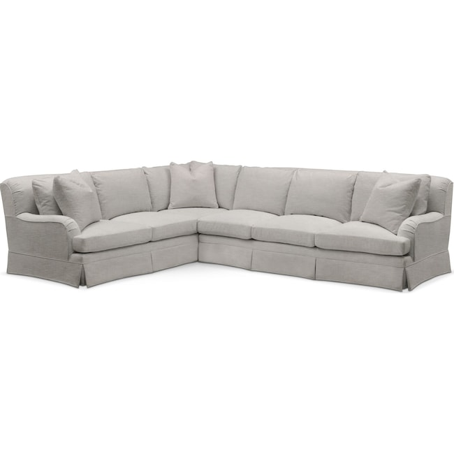 Living Room Furniture - Campbell 2 Pc. Sectional with Right Arm Facing Sofa- Cumulus in Dudley Gray