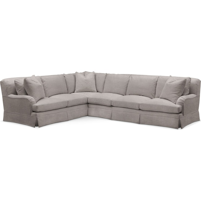 Living Room Furniture - Campbell 2 Pc. Sectional with Right Arm Facing Sofa- Cumulus in Curious Silver Rine