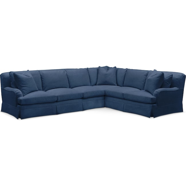 Living Room Furniture - Campbell 2 Pc. Sectional with Left Arm Facing Sofa- Cumulus in Hugo Indigo