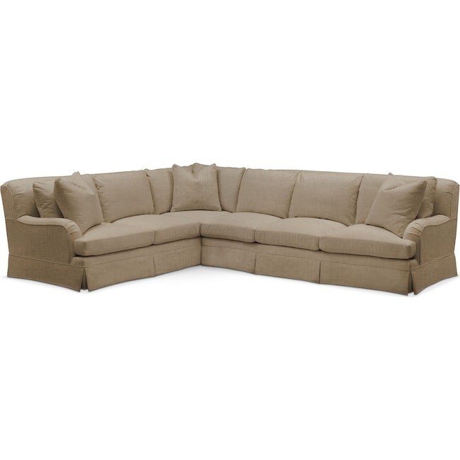 Living Room Furniture - Campbell 2 Pc. Sectional with Right Arm Facing Sofa- Cumulus in Milford II Toast