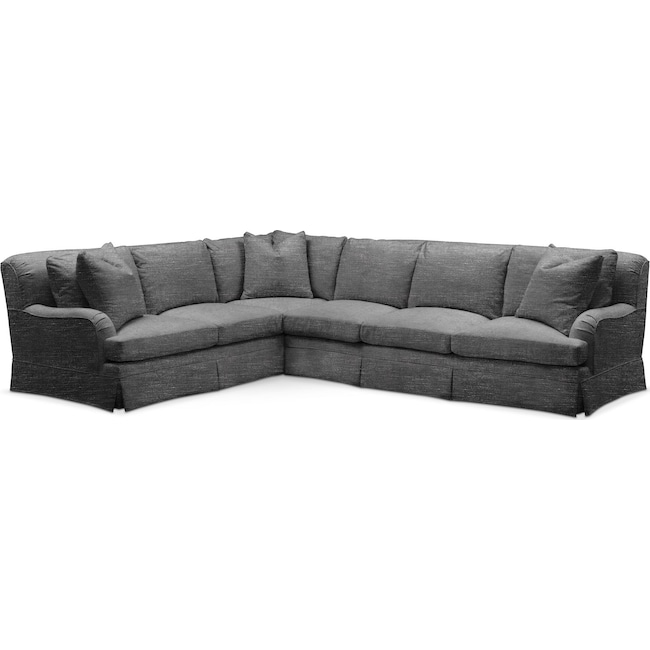 Living Room Furniture - Campbell 2 Pc. Sectional with Right Arm Facing Sofa- Comfort in Curious Charcoal