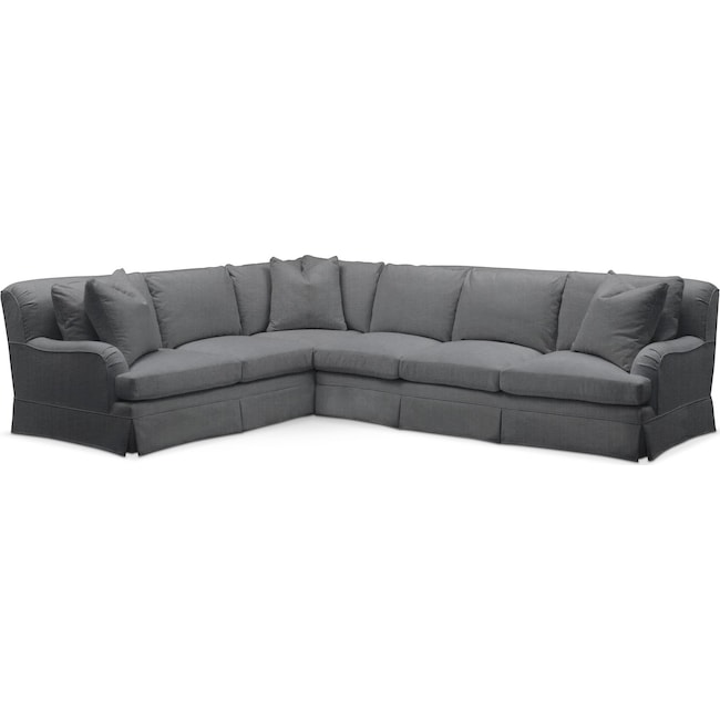 Living Room Furniture - Campbell 2 Pc. Sectional with Right Arm Facing Sofa- Comfort in Depalma Charcoal