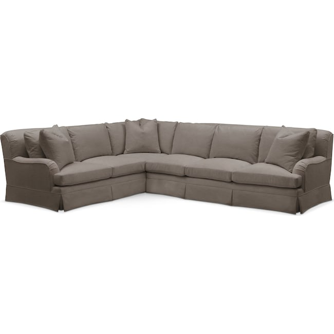 Living Room Furniture - Campbell 2 Pc. Sectional with Right Arm Facing Sofa- Comfort in Oakley III Granite
