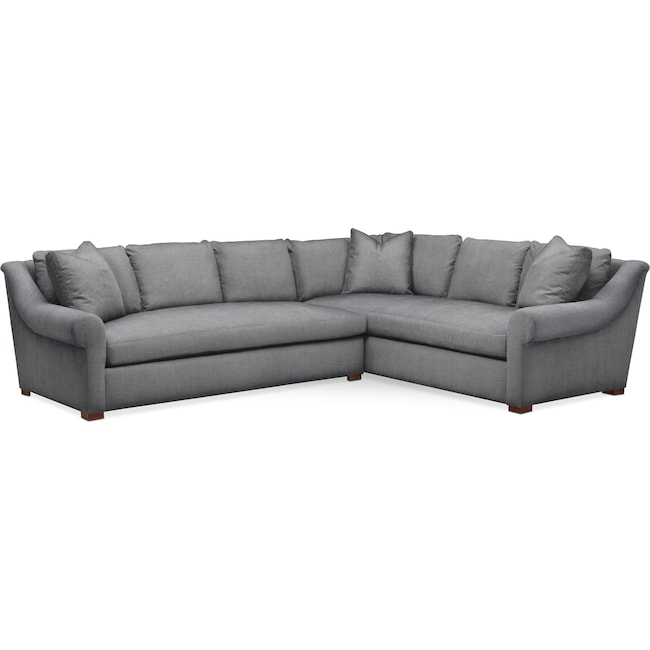 Living Room Furniture - Asher 2 Pc. Sectional with Left Arm Facing Sofa- Cumulus in Depalma Charcoal