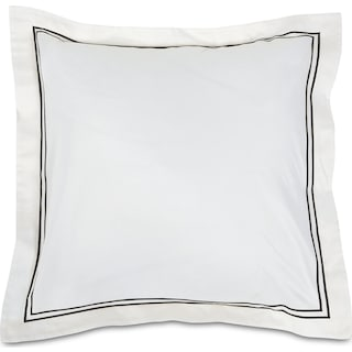 Hampton Embroidered Euro Sham Set of Two - Black and White