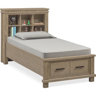 Tribeca Youth Full Bookcase Bed with 2 Underbed Drawers - Gray