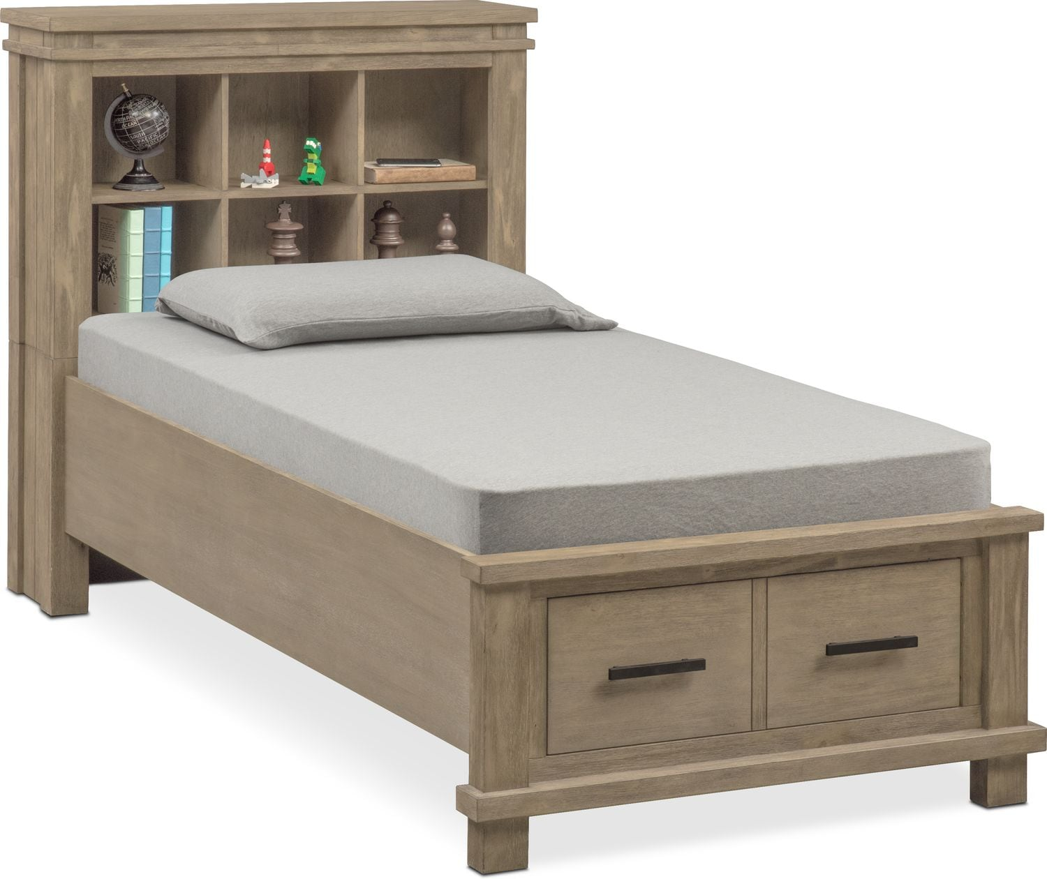Tribeca Youth Twin Bookcase Bed With 1 Underbed Drawer   Gray