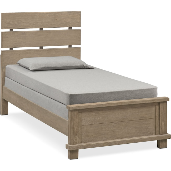 Bedroom Furniture - Tribeca Youth Full Plank Bed - Gray
