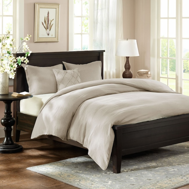 Accent and Occasional Furniture - Harbor King Linen Duvet Cover and Sham Set - Beige