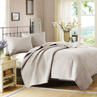 Hampton Hill Queen Coverlet and Sham Set - Beige