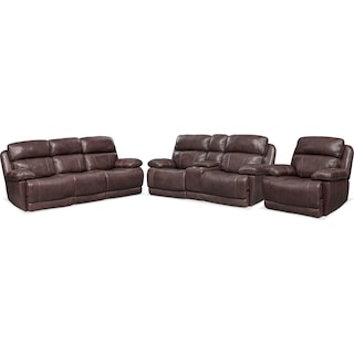 Monte Carlo Dual Power Reclining Sofa, Reclining Loveseat and Recliner Set - Chocolate