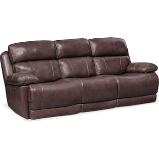 Monte Carlo Dual-Power Reclining Sofa - Chocolate