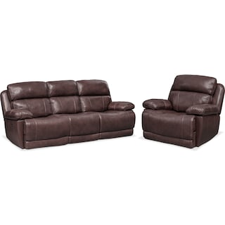 Monte Carlo Dual Power Reclining Sofa and Recliner Set - Chocolate