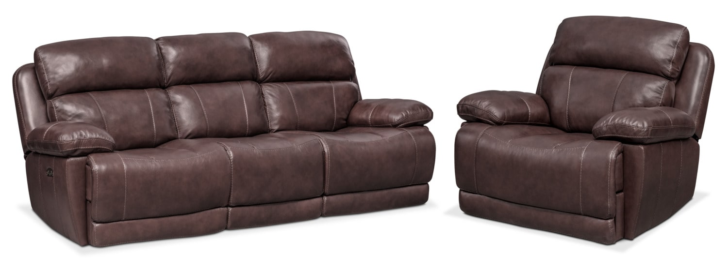 $2,099.98 Monte Carlo Dual Power Reclining Sofa And Recliner Set   Chocolate