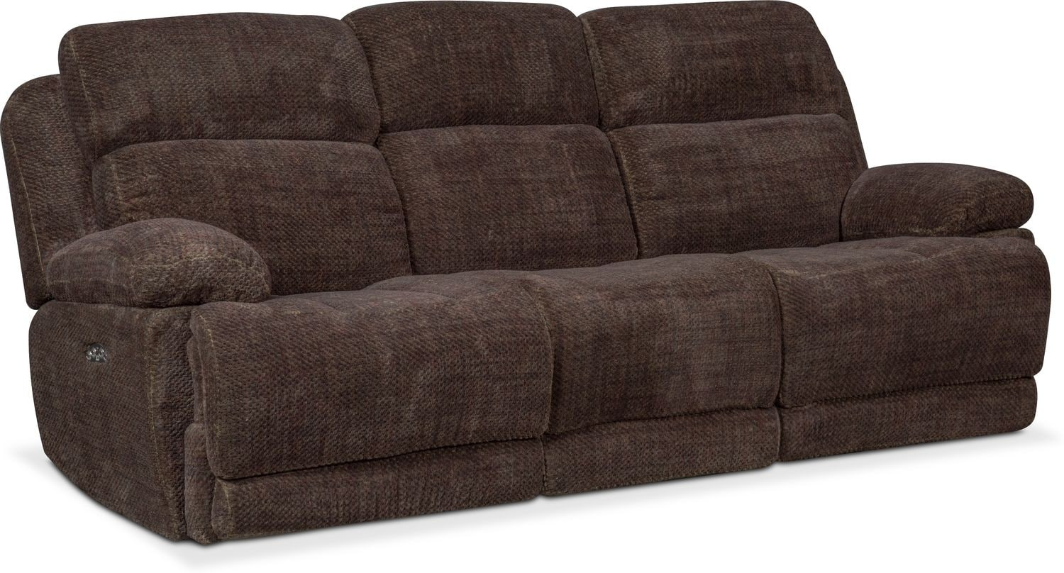 Monte Carlo Dual Power Reclining Sofa Reclining Loveseat And Recliner Set Brown American