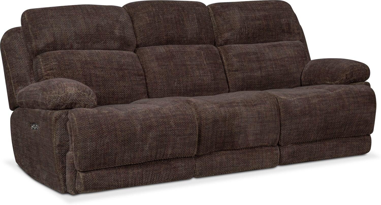 Living Room Furniture   Monte Carlo Dual Power Reclining Sofa   Brown