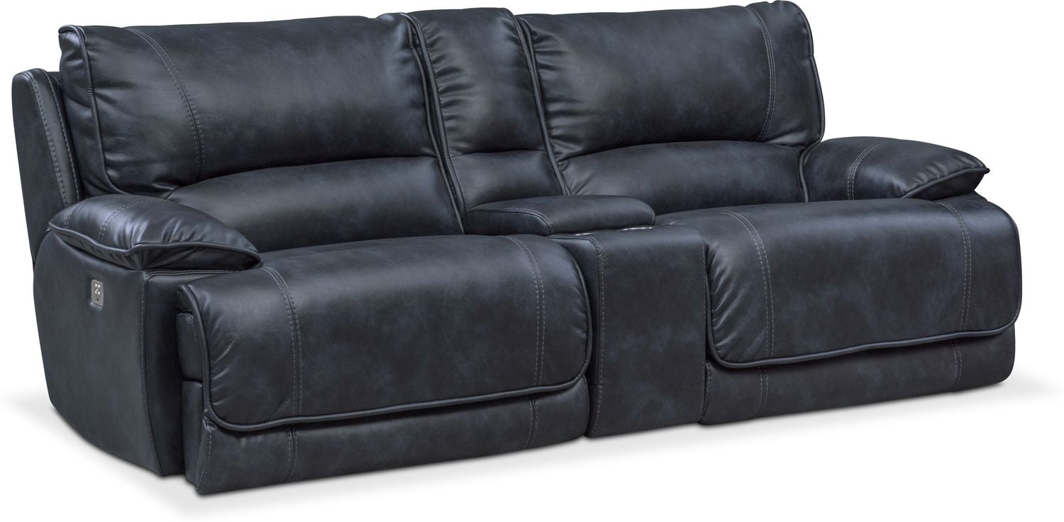 Superieur Mario Dual Power Reclining Sofa With Console   Navy By Apt.1710