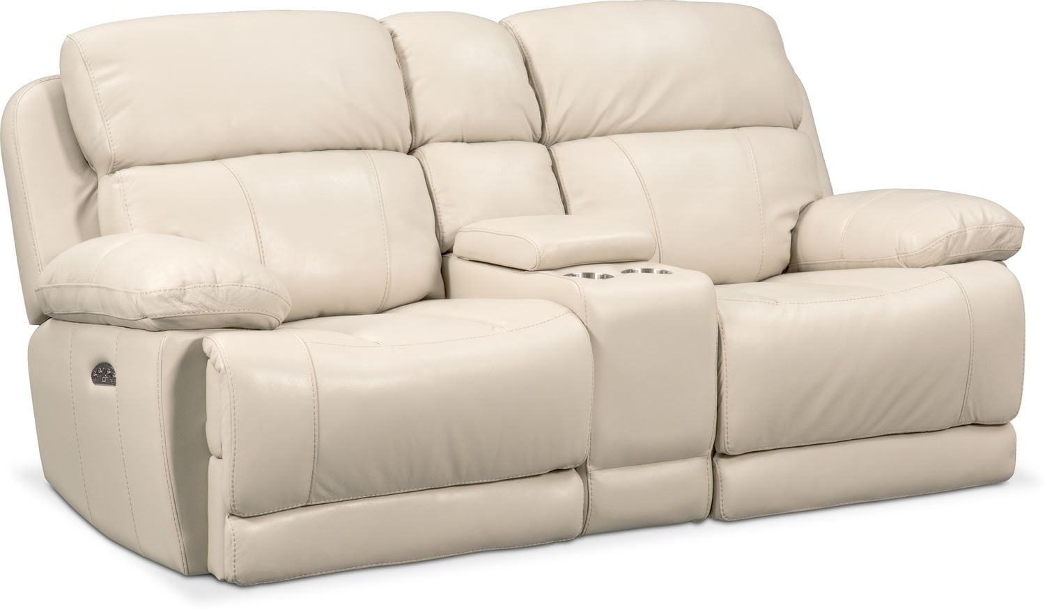 Monte Carlo Dual Power Reclining Sofa And Reclining Loveseat Set Cream American Signature