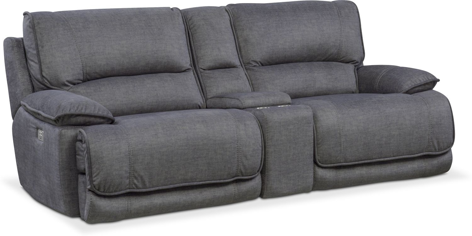 Living Room Furniture   Mario Dual Power Reclining Sofa With Console    Charcoal