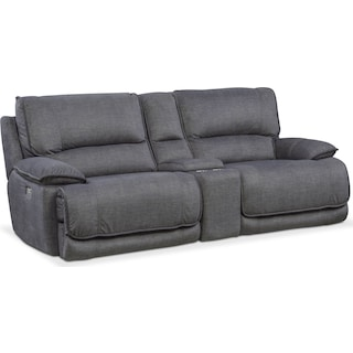 Mario 3-Piece Dual-Power Reclining Sofa with Console - Charcoal