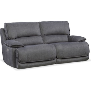 Mario 2-Piece Dual-Power Reclining Sofa - Charcoal