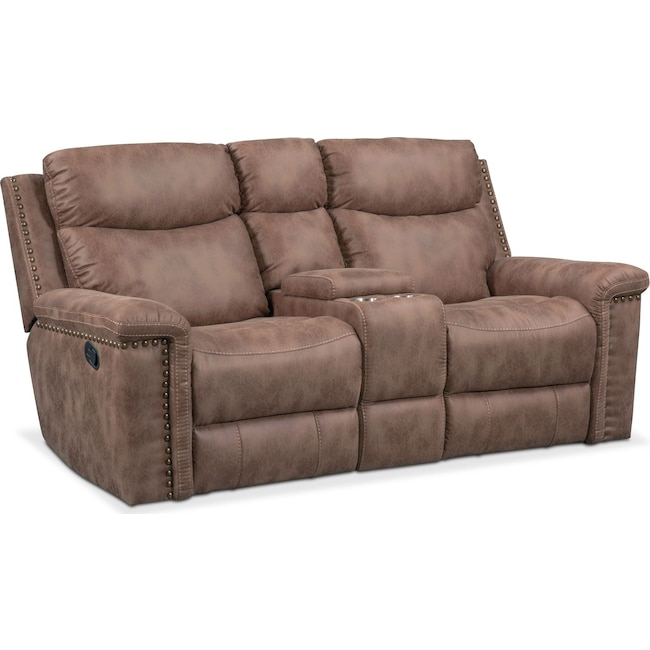 Living Room Furniture - Montana Dual Manual Reclining Loveseat with Console - Taupe