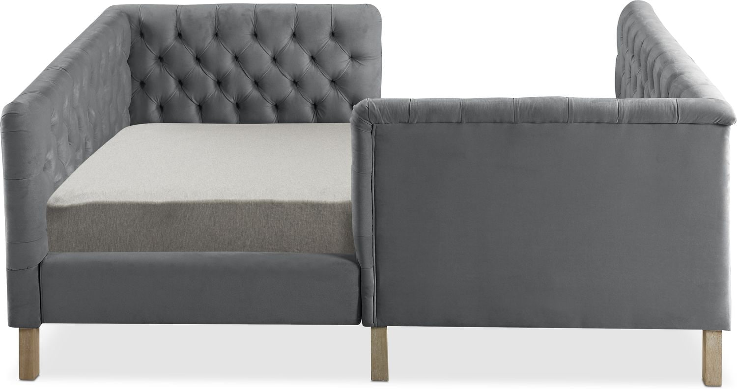 Halle Twin Upholstered Corner Bed Gray American