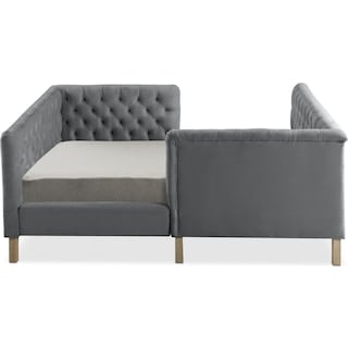 Halle Twin Upholstered Corner Bed - Gray