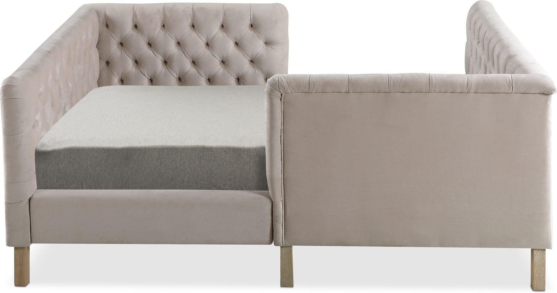 Halle Full Upholstered Corner Bed Natural American