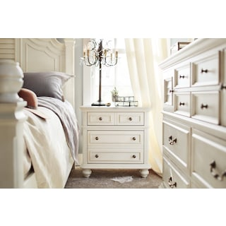 Charleston 2-Drawer Nightstand - White