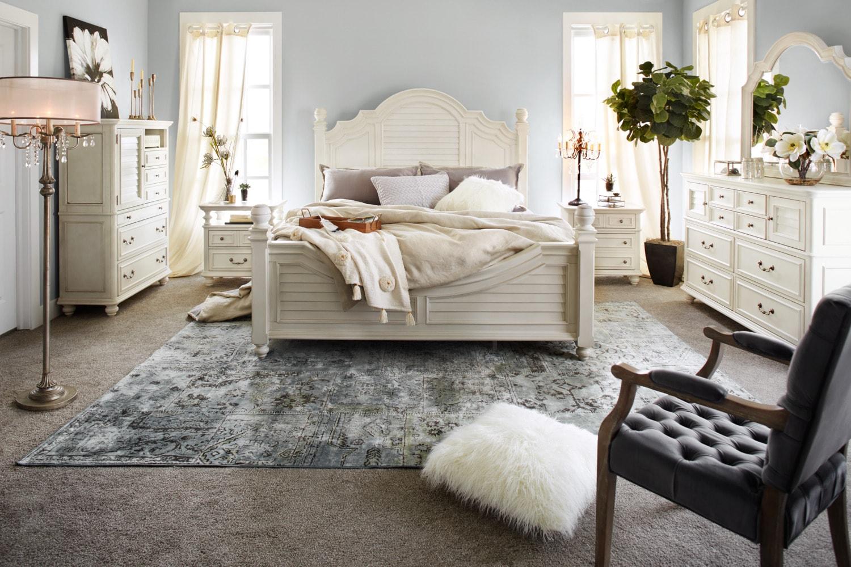 Charleston King Poster Bed - White | American Signature Furniture