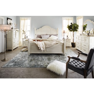 Charleston 6-Piece Poster Bedroom Set with Nightstand, Dresser and Mirror