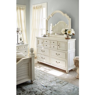 Charleston Dresser and Mirror - White