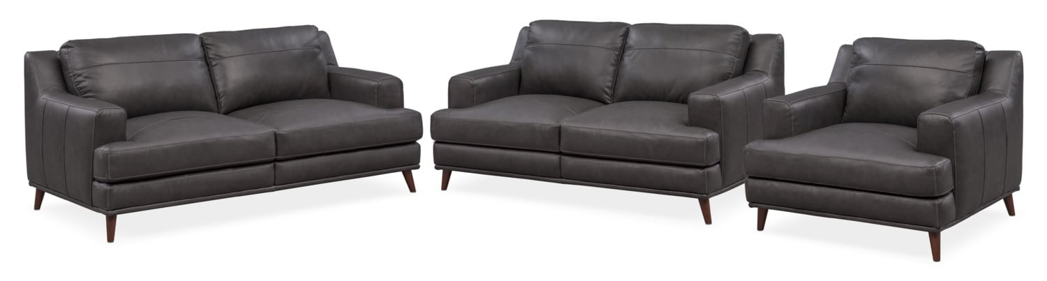 Highline Sofa Loveseat and Chair Set - Dark Gray  sc 1 st  American Signature Furniture : american signature sectional - Sectionals, Sofas & Couches