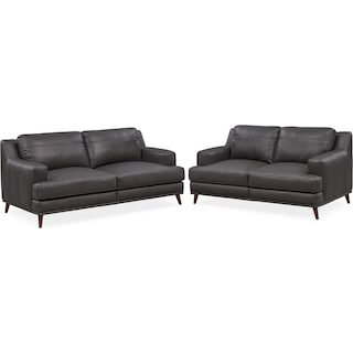 Highline Sofa and Loveseat Set - Dark Gray