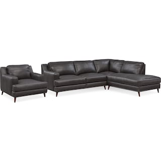 Highline 2-Piece Sectional with Right-Facing Chaise and Chair Set - Dark Gray