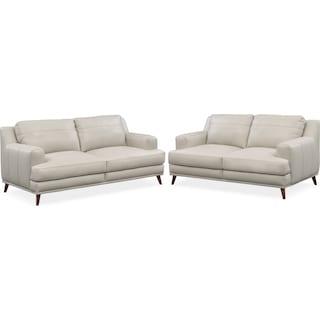 Highline Sofa and Loveseat Set - Gray
