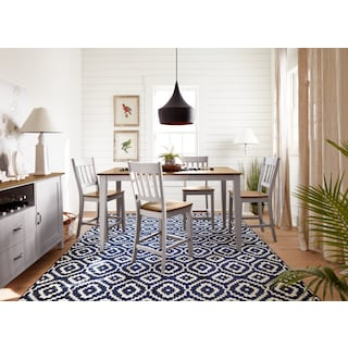 The Nantucket Counter-Height Dining Collection - Oak and Gray