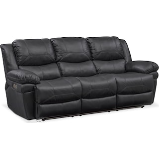 Monza Dual Power Reclining Sofa - Black