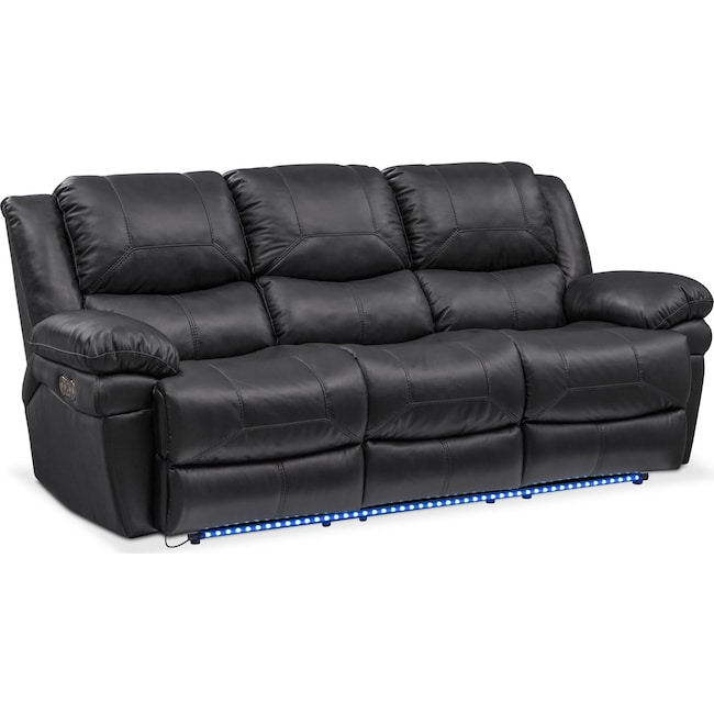 Living Room Furniture - Monza Dual Power Reclining Sofa - Black