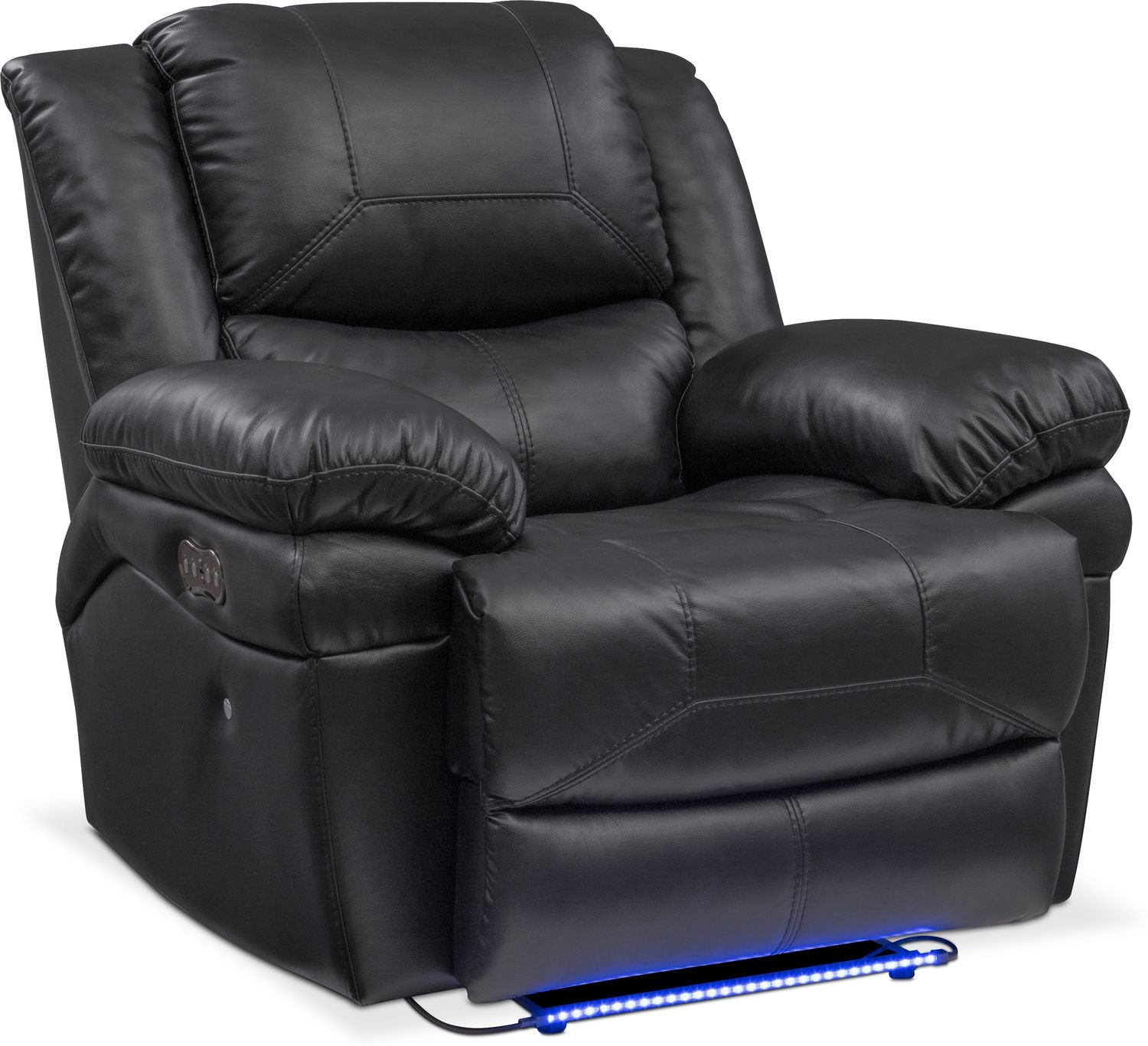 Monza Dual Power Reclining Sofa Reclining Loveseat And Recliner Set Black American