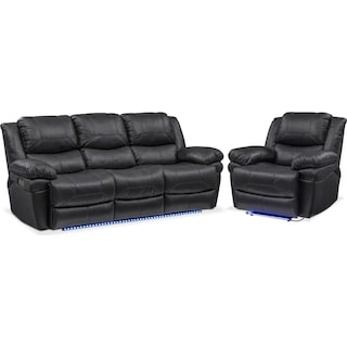Monza Dual Power Reclining Sofa and Recliner Set - Black