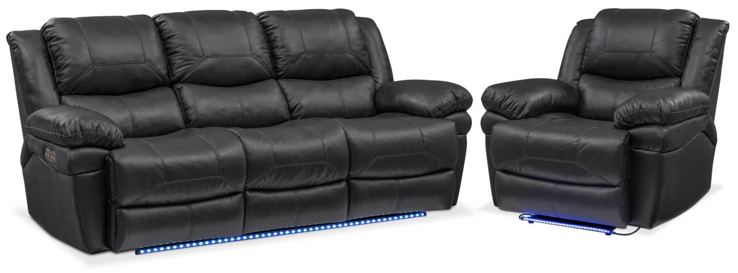 Living Room Furniture   Monza Dual Power Reclining Sofa And Recliner Set    Black