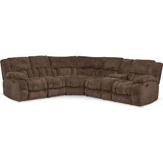 Turbo 6-Piece Manual Reclining Sectional with Right-Facing Console - Chocolate