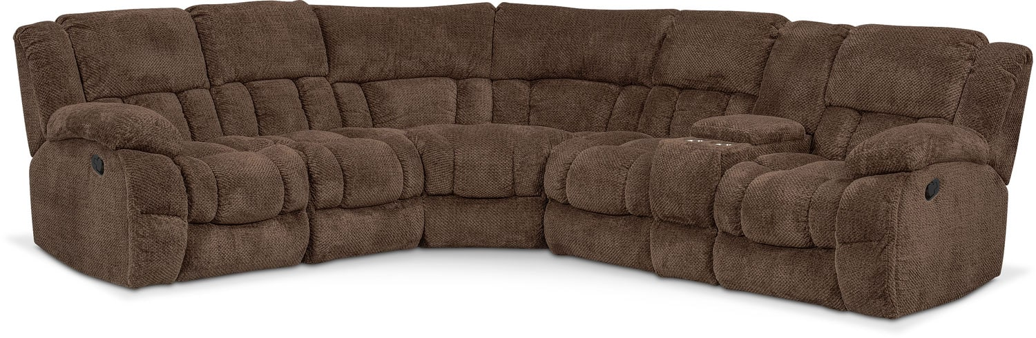 Living Room Furniture   Turbo 6 Piece Reclining Sectional With Right Facing  Console
