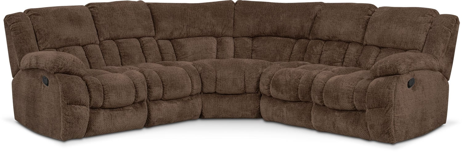 Living Room Furniture - Turbo 5-Piece Manual Reclining Sectional with 3 Reclining Seats - Chocolate